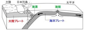 日本付近におけるプレートの模型図