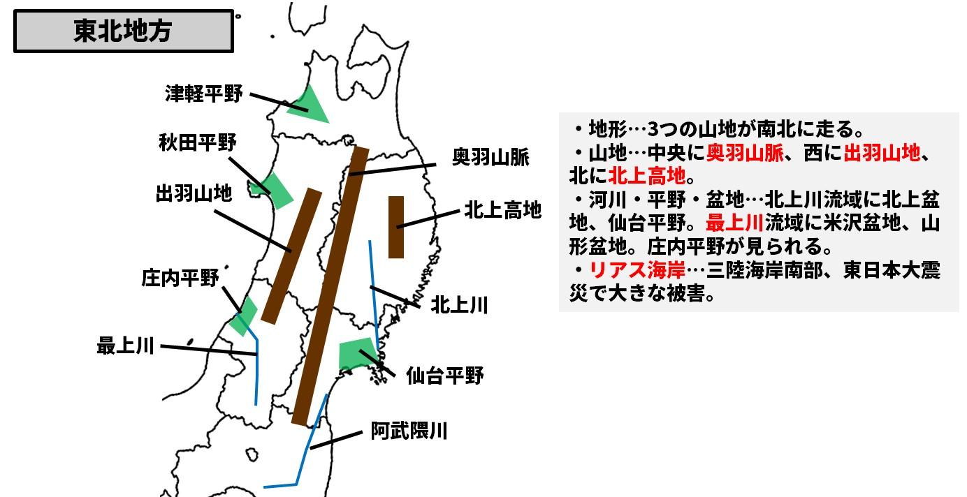 東北地方の地形・自然図