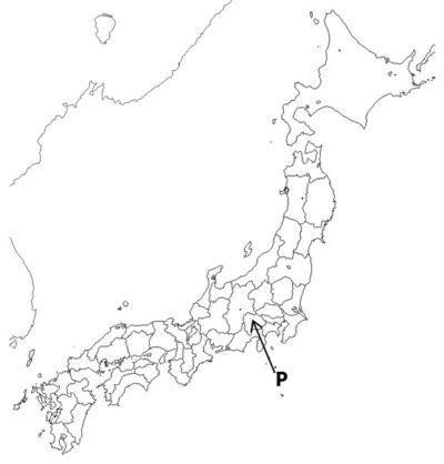 山梨県を指す日本地図